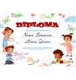 kids diploma certificate vector image vector image