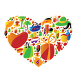 Ladies shopping icons in heart shape vector image
