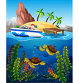 People in boat and turtles under the sea vector image vector image