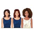 pop art beautiful women smiling cartoon vector image vector image
