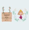 princess with wooden label invitation card vector image