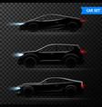 realistic car dark transparent icon set vector image