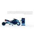 realistic motorcycle charging from electricity vector image