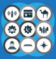 religion icons set with scripture adhaan qiblah vector image vector image