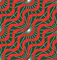 Retro 3D red green waves and rays vector image vector image