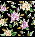 rose flowers seamless pattern black background vector image vector image