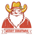 Santa Claus in cowboy hat on old paper with text vector image vector image