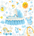 Seamless pattern of cribs toys and stuff its a boy vector image vector image