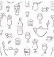 Seamless pattern with outline style drinks vector image vector image