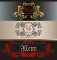 set antique menu designs luxury style vector image vector image