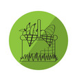 sketch of a picnic basket on a label vector image vector image