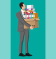 stressed businessman with pile office documents vector image vector image
