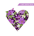 summer floral heart shape tropical flowers vector image vector image