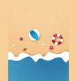 summer time background on beach paper art style vector image vector image