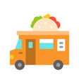 taco truck food truck flat style icon vector image vector image