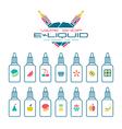 Vape shop e liquid flavors icons set vector image