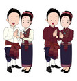 wedding couple cartoon in thai dress vector image vector image
