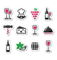 Wine labels set - glass bottle restaurant food vector image vector image