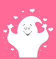 with cartoon ghost and hand vector image vector image