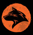 wolf and moon logo template vector image