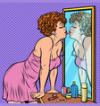 woman in nightgown kissing her reflection in the vector image vector image