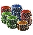 Poker chip many isolated white background vector image