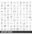 100 diet icons set outline style vector image vector image