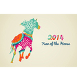 2014 Year of the Horse colorful vector image vector image