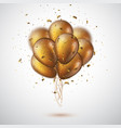 3d gold balloons with confetti vector image