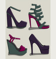 a set of summer female shoes with high heels in vector image vector image