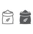 bag of wheat line and glyph icon farming vector image
