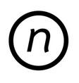 basic font letter n icon design vector image vector image