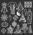 buddhism religion and culture icons spirituality vector image