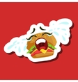 Burger Sandwich Crying Out Loud Cute Emoji vector image vector image