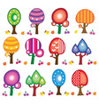 cartoon fruit trees vector image vector image