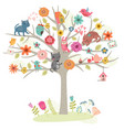 cats and tree vector image