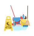 cleaning equipment for cleaning and mopping vector image