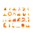 collection fire icons flames symbols vector image