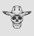 cowboy skull drawing in a vintage retro woodcut vector image