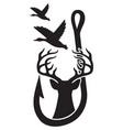 duck deer and hook hunting design gone fishing vector image
