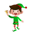 excited elf jumping and ringing bell