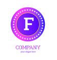 f letter logo design f icon colorful and modern vector image