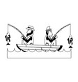fishermen on boat icon image vector image vector image
