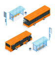 flat 3d isometric a bus and vector image vector image