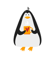flat style penguin with cup coffee vector image vector image