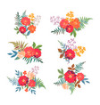 floral set collection with red orange beautiful vector image vector image