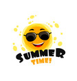 funny sun with text summer time yellow cute vector image