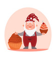 gnome holding cupcake in his hand vector image