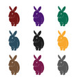 gray rabbitanimals single icon in black style vector image vector image