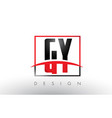gy g y logo letters with red and black colors and vector image vector image